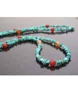 Long Turquoise and Carnelian silver Necklace - $45.00
