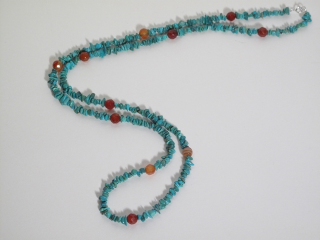 Long Turquoise and Carnelian silver Necklace