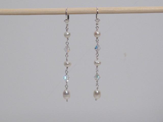 Long Silver Pearl Earrings