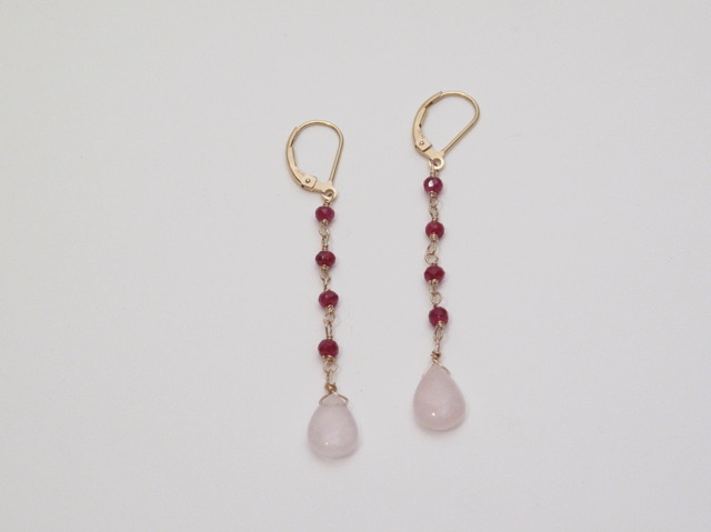 Long gold Ruby and Rose Quartz Earrings