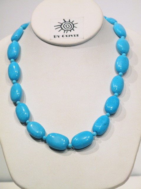 Large Bright Blue Chinese Turquoise Necklace