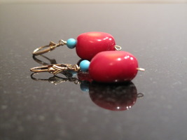 Coral and Turquoise stone Earrings - $25.00