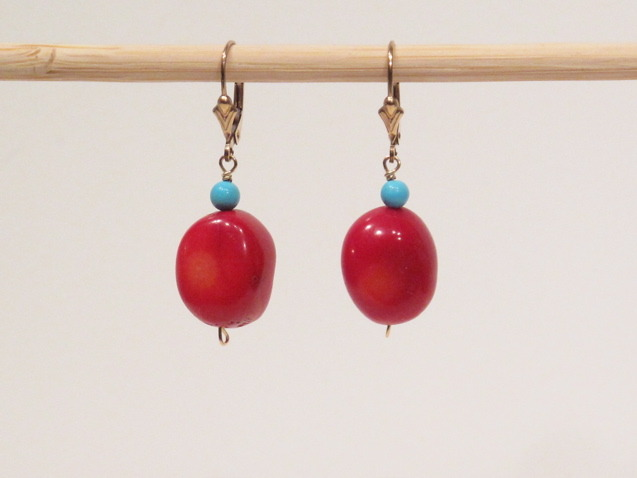 Coral and Turquoise stone Earrings