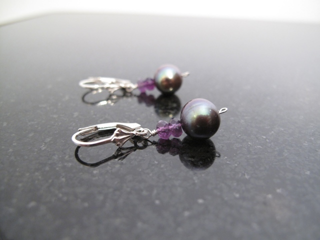Grey Pearl and Amethyst Earrings