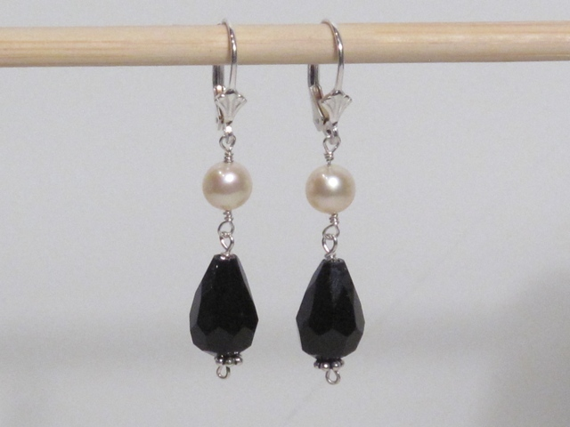 Silver Crystal and Pearl Earrings