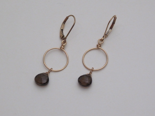 Gold Smokey Quartz circle earrings