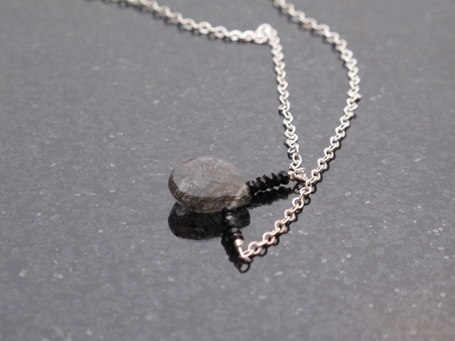 Black Spinel and Rutillated Quartz drop Necklace