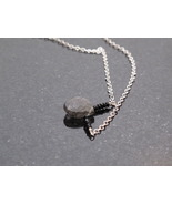 Black Spinel and Rutillated Quartz drop Necklace - $38.00