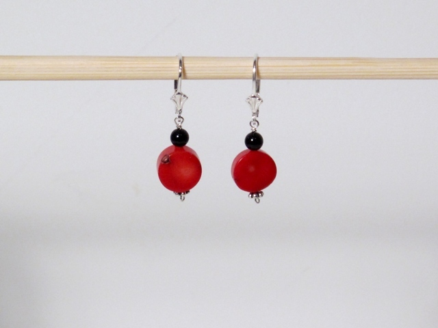 Onyx, Coral and Clay, oh my! (earrings)