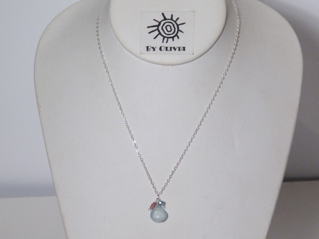 Silver Chalcedony, Pink Tourmaline, and Apetite Necklace