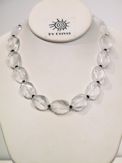 Silver Quartz and Crystal Necklace