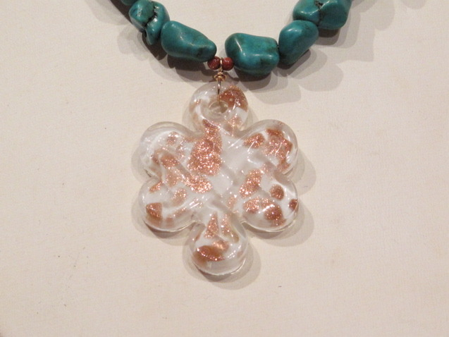 Turquoise Murano Glass Necklace