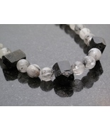 Silver Rutillated Quartz and Black Tourmaline Necklace - $50.00