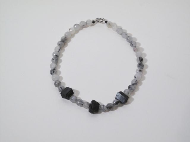 Silver Rutillated Quartz and Black Tourmaline Necklace