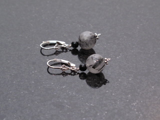 Silver Rutillated Quartz and Black Onyx Earrings