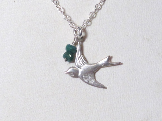 Silver Sparrow and Emerald Necklace