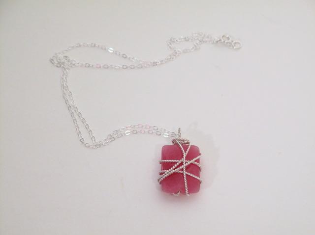 Silver Raspberry Quartz wrapped necklace
