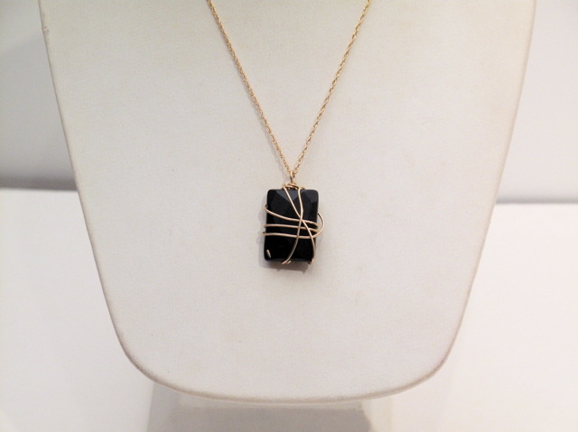 Gold Onyx wrapped stone necklace