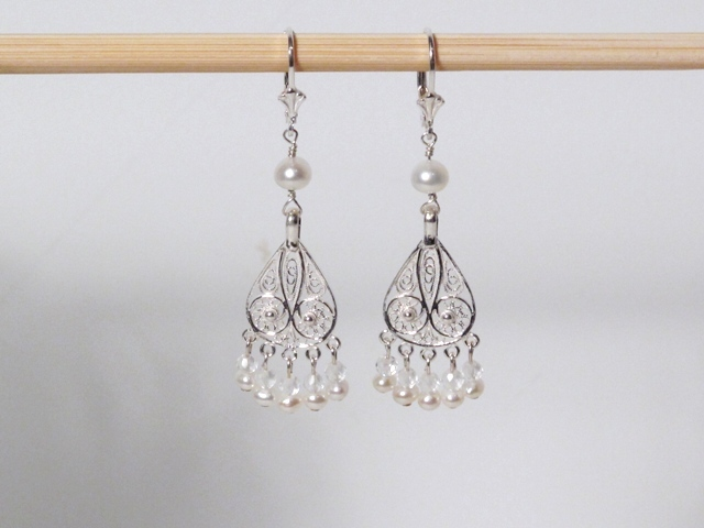 Silver Pearl Chandelier Earrings