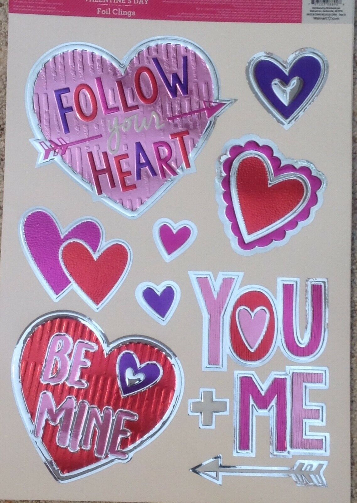Static Window Clings Valentine Foil Hearts Be Mine Follow Your Heart New