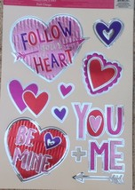 Static Window Clings Valentine Foil Hearts Be Mine Follow Your Heart New - $8.86