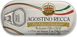 Agostino Recca - Flat Fillets of Anchovies in Olive Oil, 3- 2 Ounce. Tins