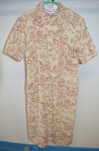 VTG 1960s Cheong-sam Linen Pink Taupe Cream Floral Print Lined Dress M - $32.08