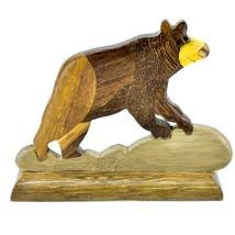 Northwoods Handmade Wooden Parquetry Black Brown Bear Sculpture Figurine