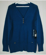 Jones New York Signature Woman Plus 2X Sweater Royal Teal Silver Buttons... - $29.65