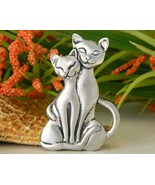 Blackfish pewter two cats pin brooch canada 1995 signed thumbtall