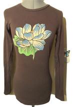 ED HARDY Audiger T-shirt Top S Brown Blue Lotus flower long sleeve urban... - $16.82
