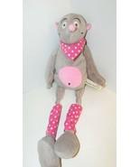 Les Petites Maries Baby plush gray tan mouse pink tummy dot bandanna  - $26.72