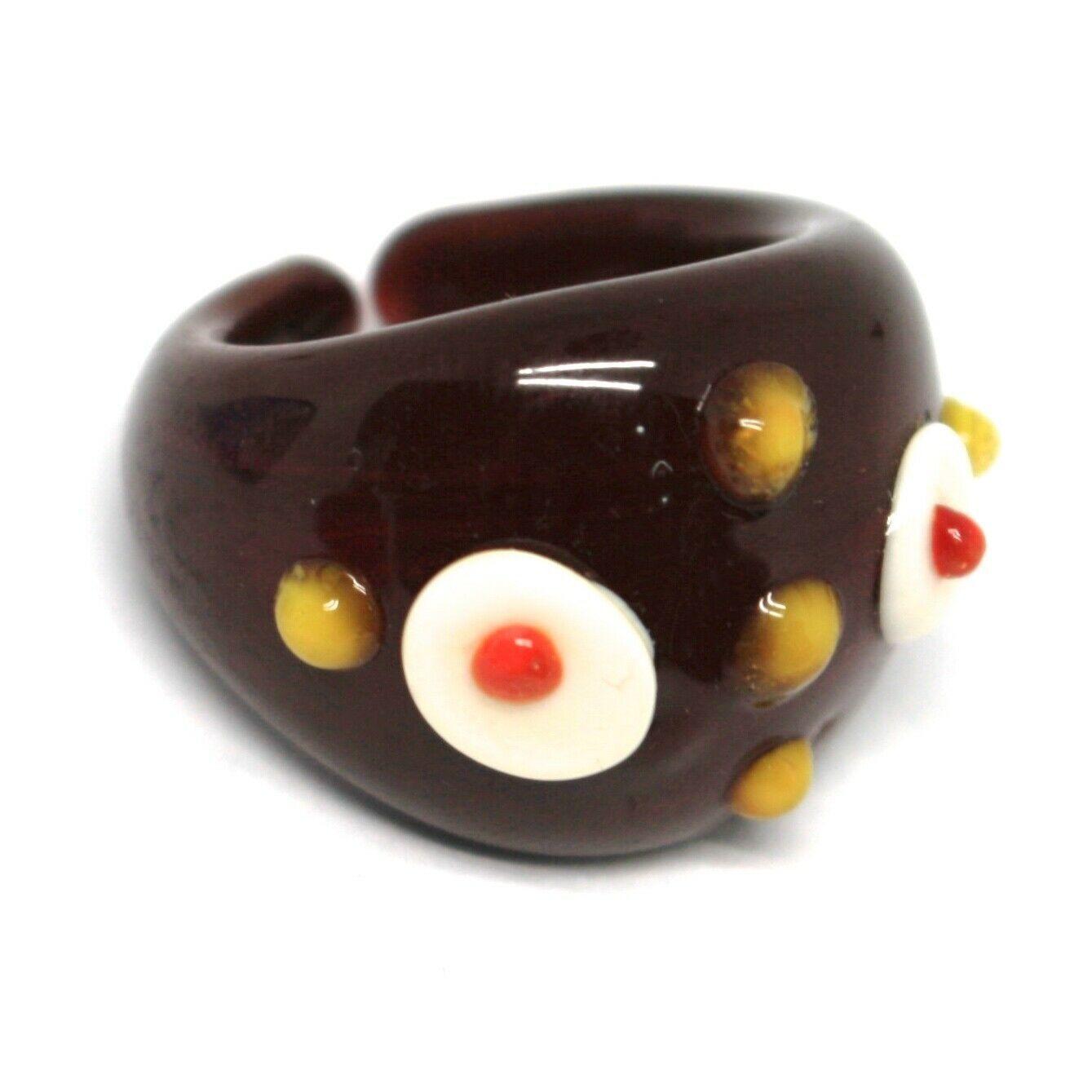 Ring Antica Murrina, Murano Glass, Brown, Discs, Polka dot Embossed