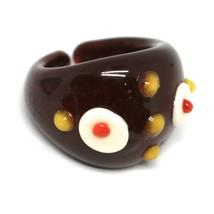 Ring Antica Murrina, Murano Glass, Brown, Discs, Polka dot Embossed image 1
