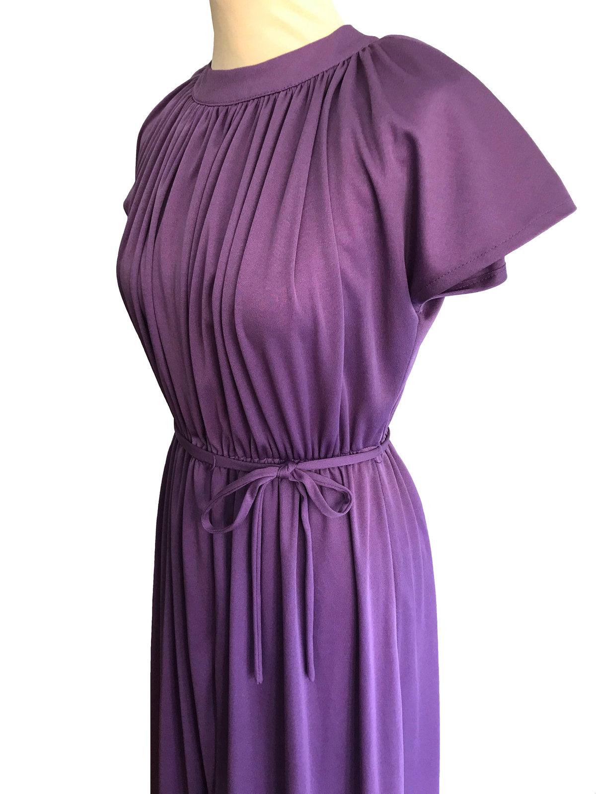 70s Lavender Plum Heather Grecian Style Ruched Draped Tunic Raglan Kimono Sleeve image 5