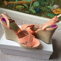 Madden Girl Women's Platform Peach Textile Sandal Shoes Size 8.5M New - $34.64