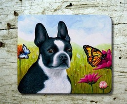 Mousepad Mouse Pad Computer Mat Dog 134 Boston Terrier Butterfly art L.D... - $15.99