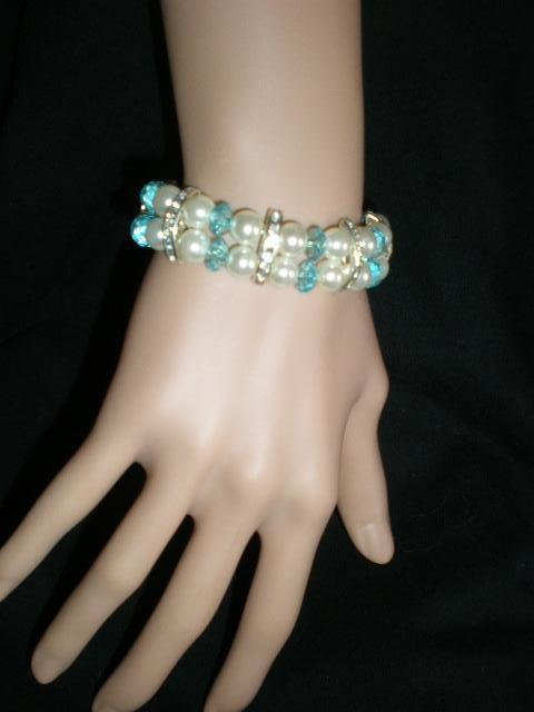 Primary image for New Turquoise & White Beaded Stretch Rhinestones Faux Pearls  Bracelet