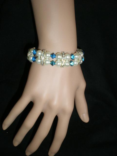 Primary image for NeW Turquoise Rhinestones Stretch Beaded  Faux Pearls  Bracelet