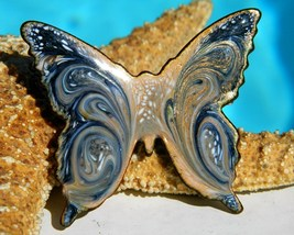 Vintage Enamel Butterfly Brooch Pin Copper Blue Swirl Modern - $17.95
