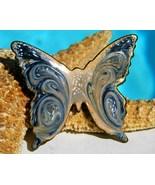 Vintage Enamel Butterfly Brooch Pin Copper Blue Swirl Modern - $17.95