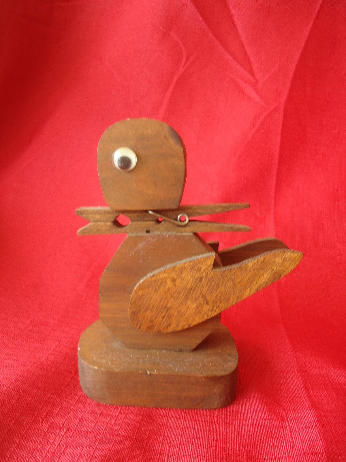 Vintage Primitive Small Hand Made Folk Art Wood  Statue Figurine