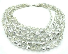 Silver Clear Acrylic Multi-Strand Graduated Bead Beaded Retro Necklace - $19.79