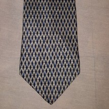 "Tie Necktie Diamond Geometric Silver Blue 56"" Zylos George Machado All Silk - $11.99"
