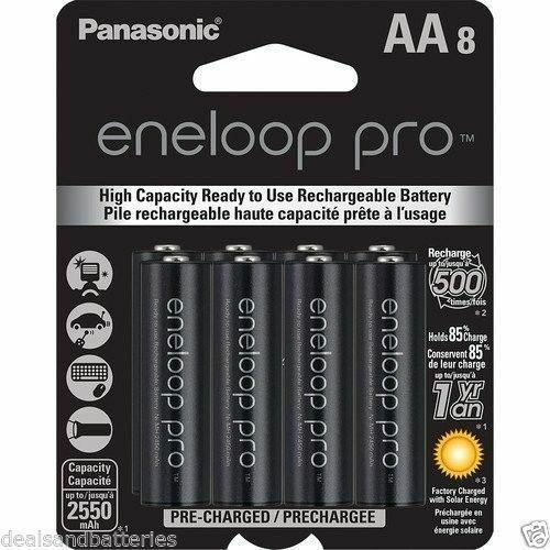8 AA Panasonic Eneloop Pro (Replace sanyo XX) NiMH 2550mAh Rechageable Batteries