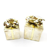 Godinger Silverplate Gift Box with Gold Bows Taper Candle Holders Set of 2 - $8.32