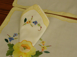 Vintage Placemats (2) and Napkins (2) Unique Sleeve for Napkins Embroidered  Yel - $15.00