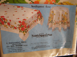 Vintage Bright Floral Screen Print Tablecloth Never Opened or Used - $20.00