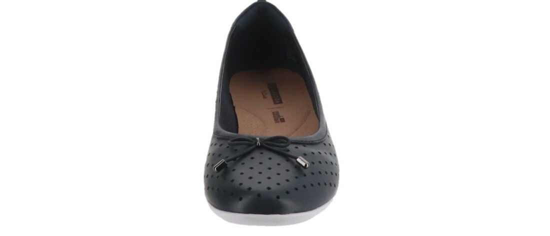 Clarks Perforated Leather Ballet Flats Gracelin Lea Navy 7M NEW A306040