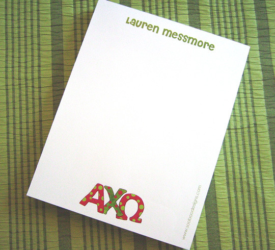 Personalized Sorority Notepad with Hand-Lettered Greek Letters